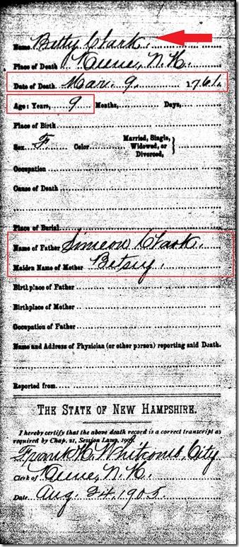 CLARK_Betty_death record_9 Mar 1761_KeeneCheshireNewHampshire