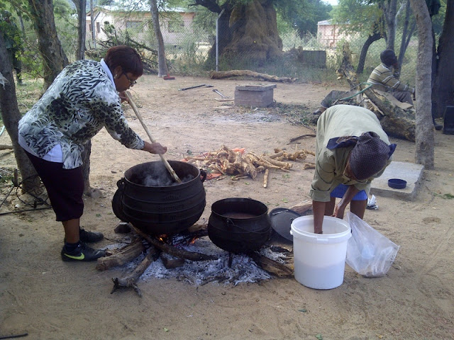 Lunch being cooked at a gardening event in Mochudi