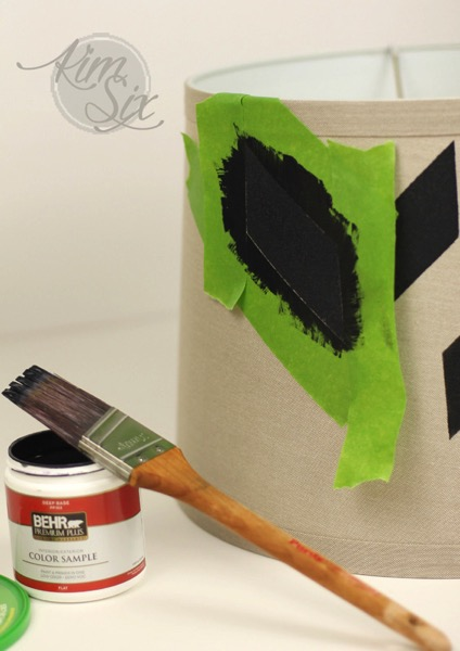 Painters tape stenciled lampshade