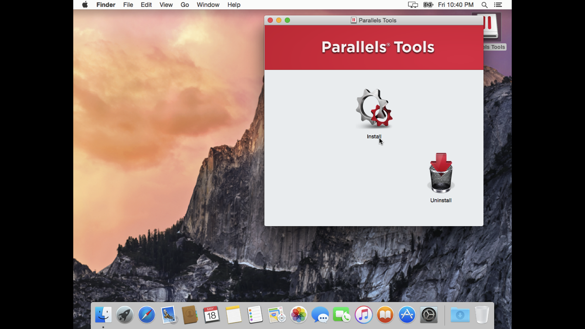 11 Parallels Tools Click on the Gear