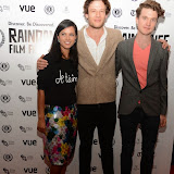 WWW.ENTSIMAGES.COM -   Farhana Bhula, James Norton and Matthew Hammett Knott (Director)   arriving at        World Premiere of Bonobo at the 22nd annual Raindance Film Festival in Vue Piccadilly, London September 25th 2014Feature length which follows a straight laced middle-aged widow as she attempts to remove her daughter from a hippy commune.                                               Photo Mobis Photos/OIC 0203 174 1069
