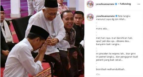 Dikritik Soal Foto Jokowi Sungkem ke Wapres, Ustaz Yusuf Mansur Ngaku Salah