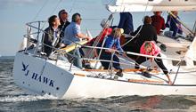 J/35 offshore cruiser-racer sailboat- sailing off Nova Scotia