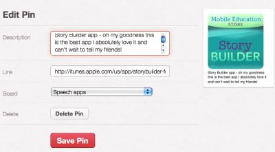 Editing Pinterest pin's description