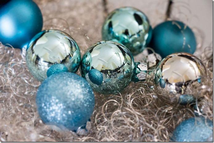 Weihnachtskugeln Eisblau Mini