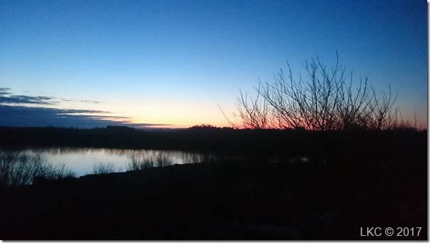 første solopgang på vej til arbejde i år 2017
