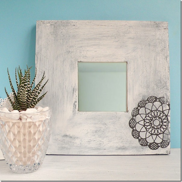 diy stenciled mirror frame using thinlits die