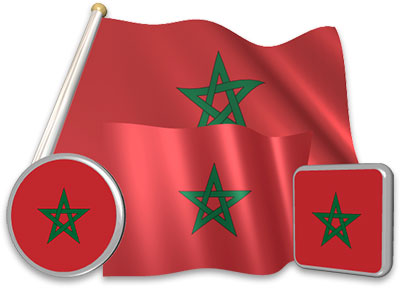 Moroccan flag animated gif collection
