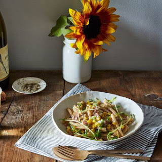 Pasta with Corn, Pea Tendrils, Prosciutto, and Summer Savory