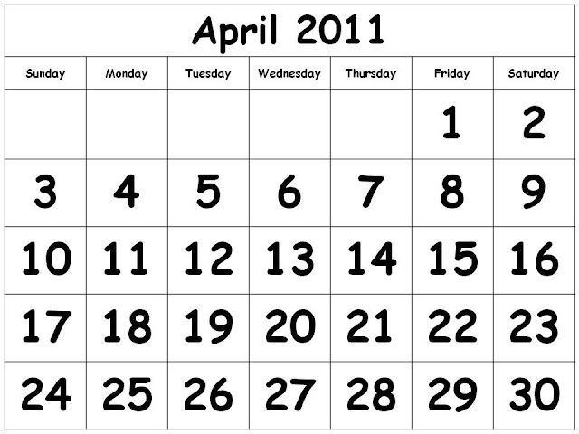 printable calendars for april 2011. 2011 Calendar April