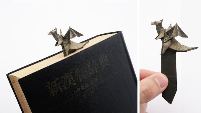 Cómo crear una marca de libro  de dragón origami
