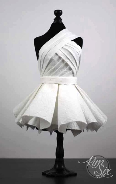 Red carpet worthy paper towel dress