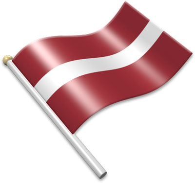 The Latvian flag on a flagpole clipart image