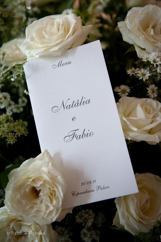 Foto de casamento 0026 de Natalia e Fabio. Marcações: 30/09/2011, Cardapio Menu, Casamento Natalia e Fabio, Rio de Janeiro.