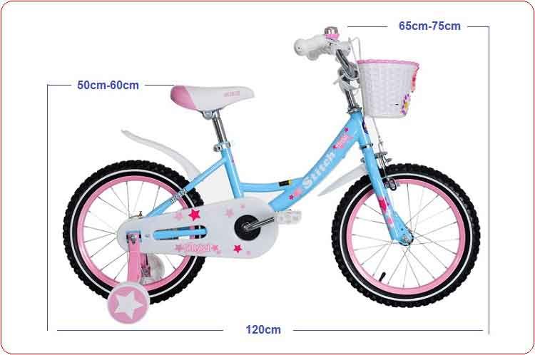 Xe đạp trẻ em Stitch 16 inch màu xanh.