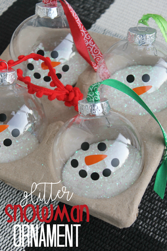 Glitter Snowman Ornament at GingerSnapCrafts.com #crafts #snow #snowman[2]