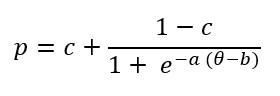 formula: p=c+(1-c)/(1+e^(-a(θ-b))