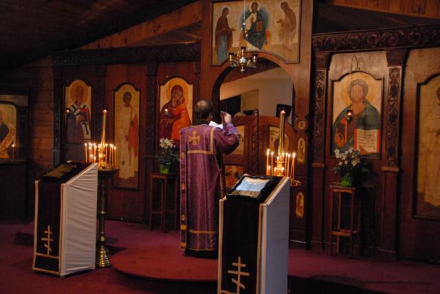 Fr. Deacon Nicholas Garklavs offers the faithful's prayers during the Litany.