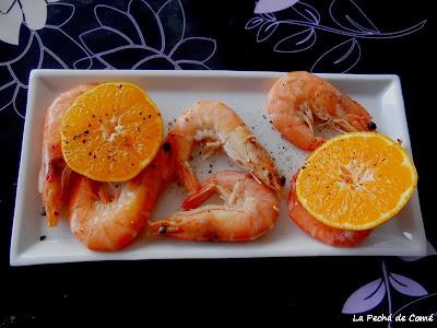Langostinos a la mandarina