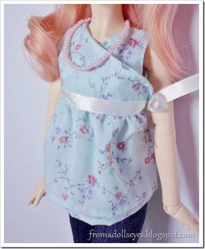 Cute wrap top for a ball jointed doll, with pattern.