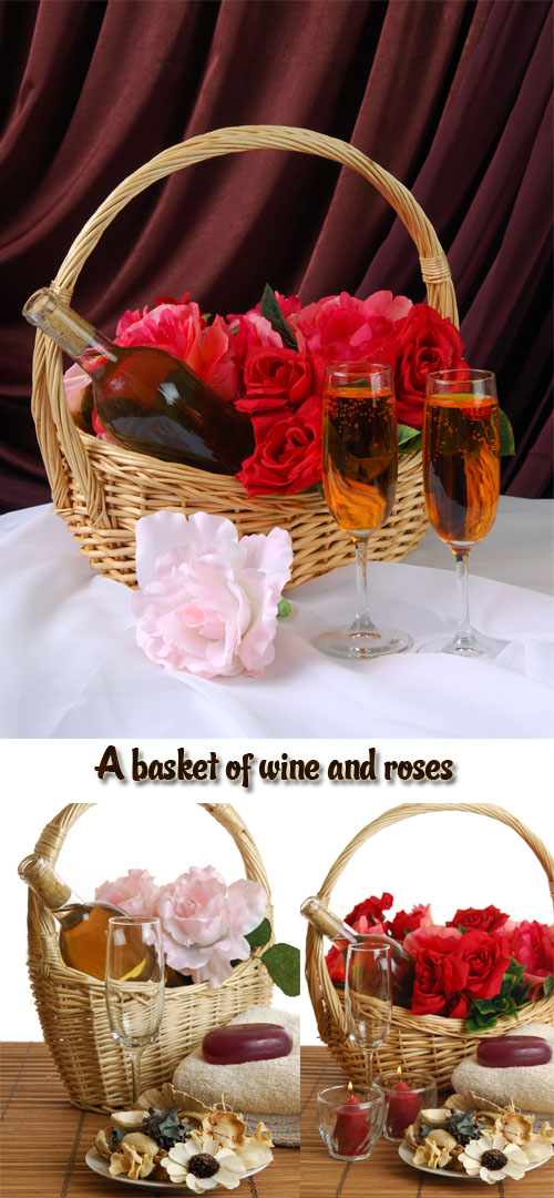 Stock Photo: A basket of wine and roses with luxury spa items