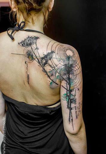 Unique watercolor style shoulder tattoos