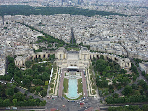 Looking down at The Trocadero from the top of the Eiffel Tower
