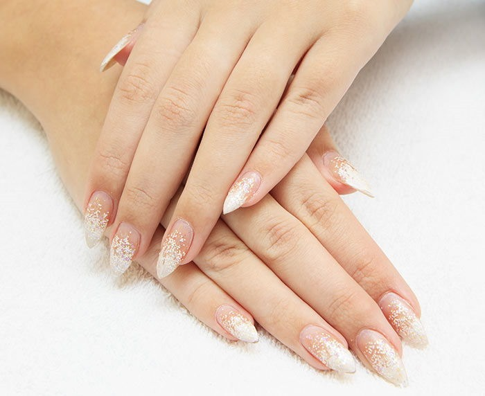 Glittered Tips Nail Art Design