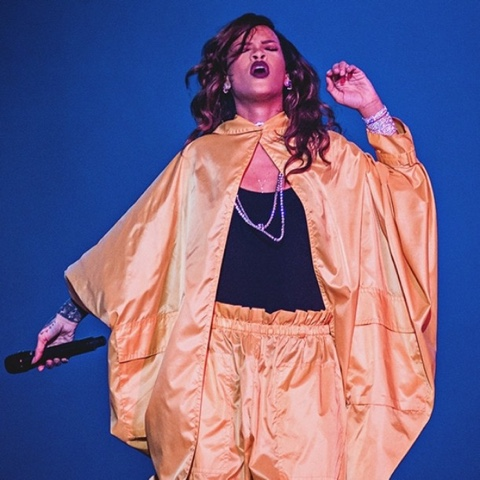 Rihanna performs at Rock in Rio wearing Vintage Miyake