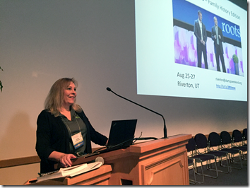 Linda Gulbrandsen addresses the 2016 BYU Conference on Family History and Genealogy