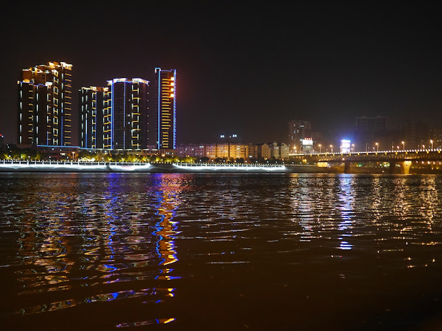 nighttime view of the Xiang River in Hengyang, China