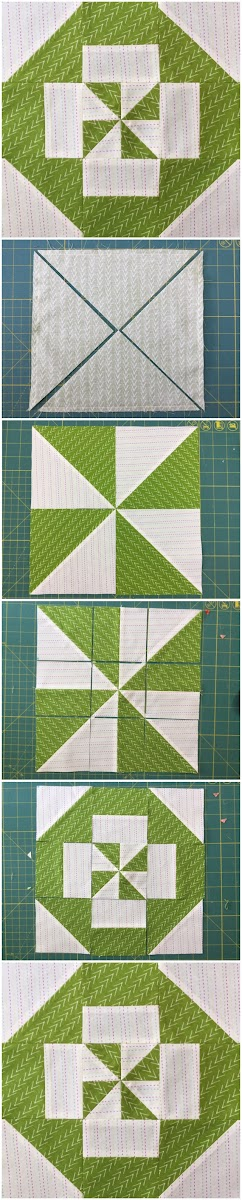 Block 1 - Disappearing pinwheel quilt sampler