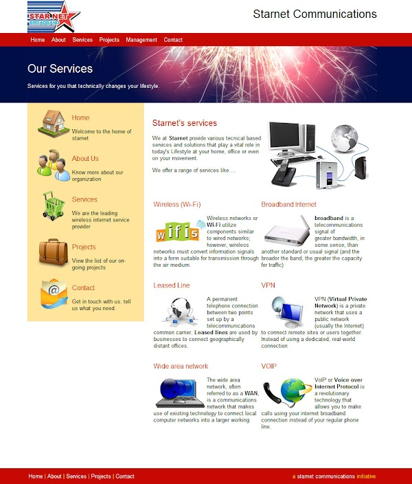 starnet communications website innerpage