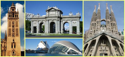 Ciudades de España: Madrid, Barcelona, Valencia y Sevilla