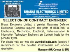 BEL Contract Engineer 480 vacancy notice 2018 www.indgovtjobs.in