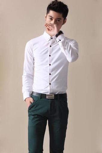 Đẹp phong cách cùng quần kaki nam Hàn Quốc với áo tay dài