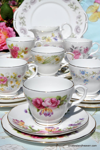 Duchess eclectic floral bone china vintage tea set