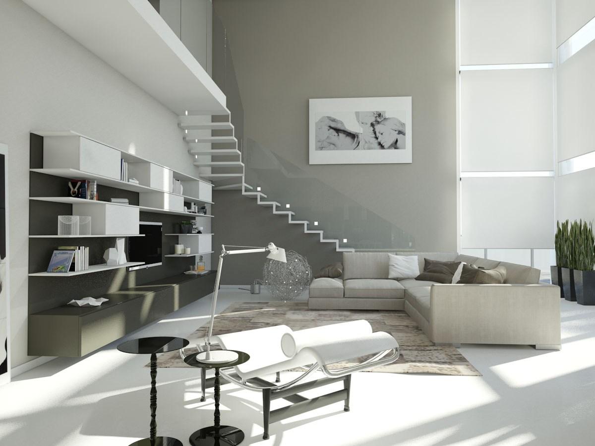 Progettazione arredamento con rendering 3d carminati e for Salotto casa moderna