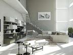 progetto rendering di soggiorno e salotto per una splendida casa di Bergamo. Scala con parapetto in vetro trasparente, mobili living sospesi, chaise longue Le Corbusier, divani Soho Iland .jpg