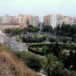 Widok w kierunku plaży Malagueta z wzgóra Gibralfaro