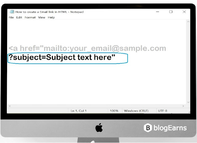 how to create an email link in HTML - step4