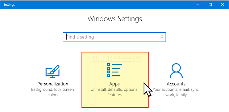Windows 10 Settings page - Navigate to 'Apps' (www.kunal-chowdhury.com)