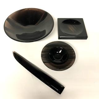 Cub-Ar Obsidian Caviar Plate, Paper Knife, Pin Dish, and Bowl Lot