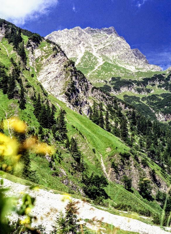 Tannheim Tirol - Blick beim Bergaicht-Wasserfall zum Rauhorn