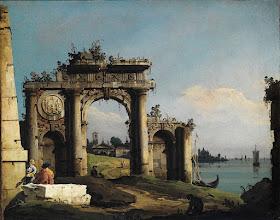 """Photo: Bernado Bellotto, """"Capriccio con arco di trionfo sulle rive della laguna"""" (1743 circa)"""