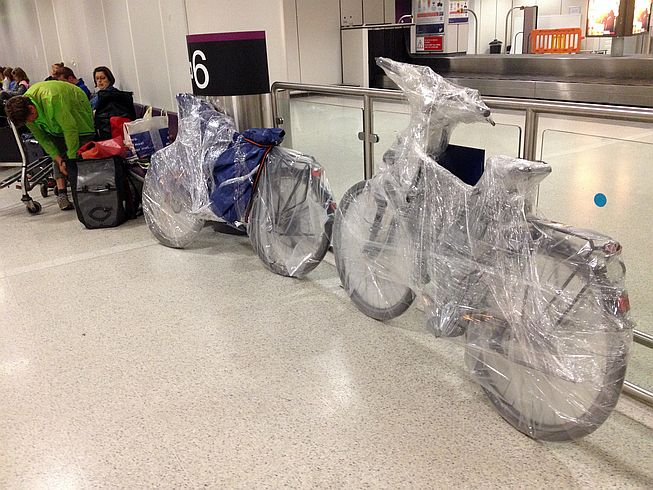 Wrapped bicycles, Edinburgh Airport