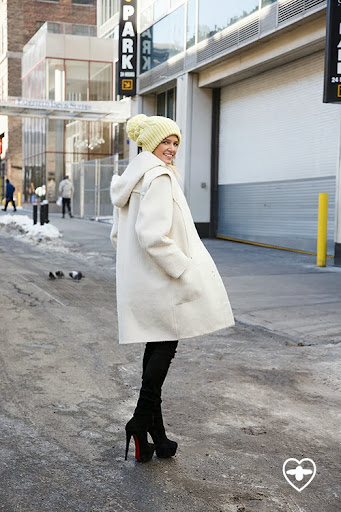 Helena Bordon; blogger; Valentino coat; Louboutin boots; yellow beannie;