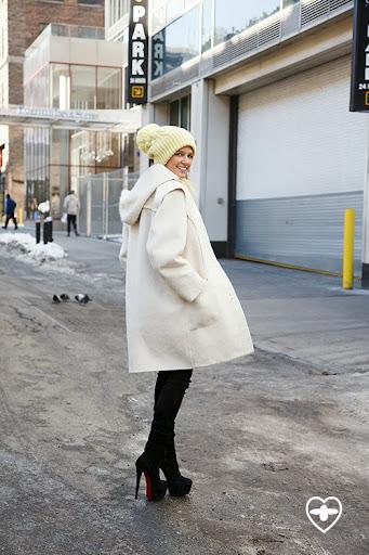 Helena Bordon; blogger; Valentino coat; Louboutin boots; yellow beannie;