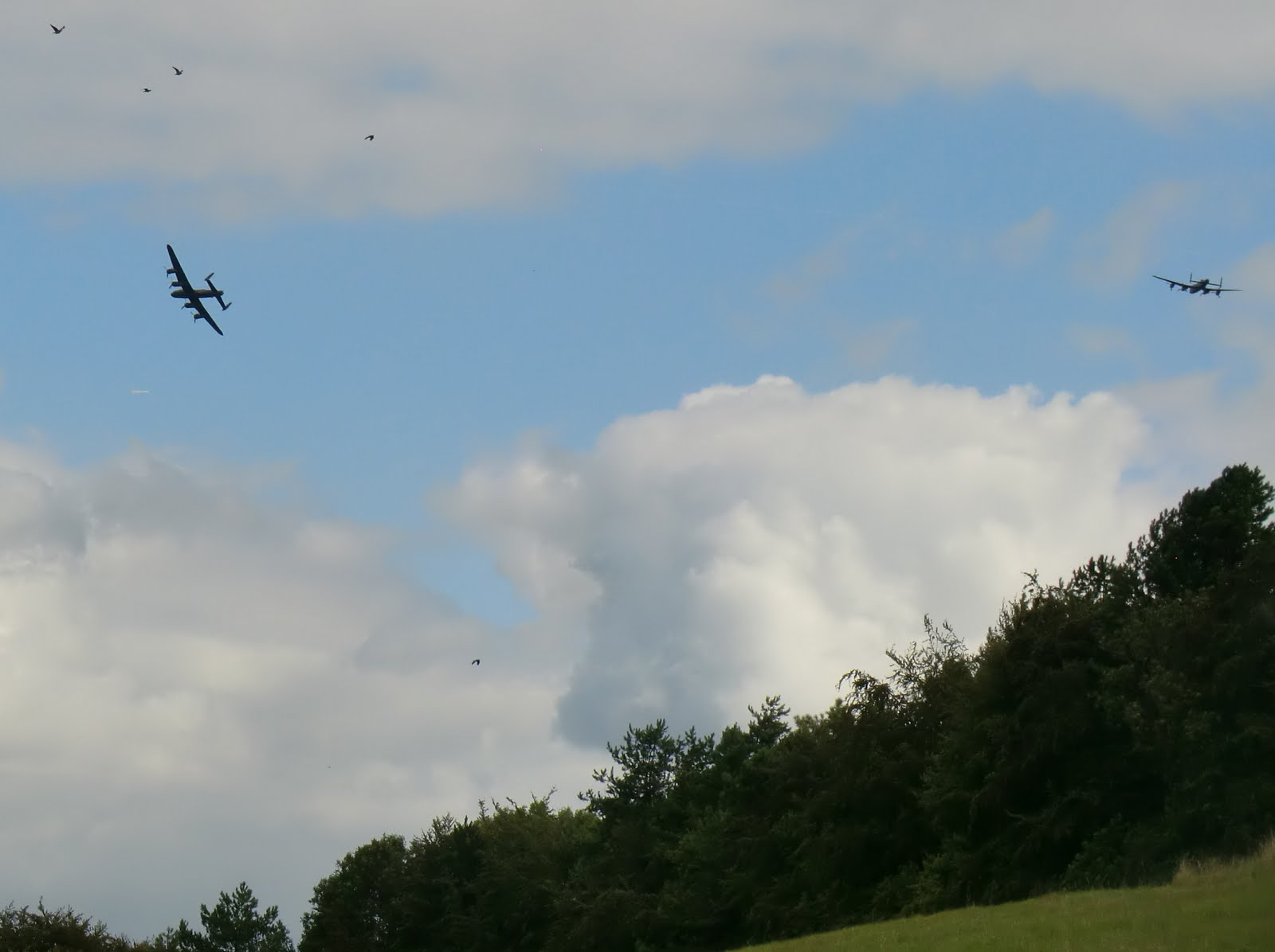 CIMG4228 A pair of Lancasters scatter the pigeons in Woldingham valley