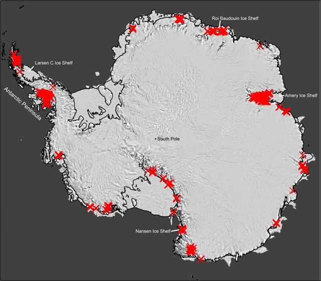 Scientists have discovered that seasonally flowing streams fringe much of Antarctica's ice. Each red 'X' represents a separate drainage. Up to now, such features were thought to exist mainly on the far northerly Antarctic Peninsula (upper left). Their widespread presence signals that the ice may be more vulnerable to melting than previously thought. Graphic: Kingslake et al., 2017 / Nature